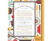 Stock the Kitchen Invitations,  Vintage Utensils Bridal Shower Invitation, Printed or Printable