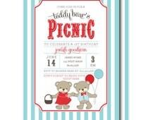 Teddy Bear Picnic Invitations, Teddy Bear's Birthday Invitation, Aqua and Red, Printable or Printed