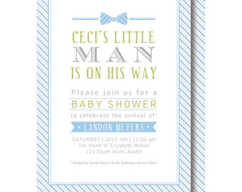 Little Man Baby Shower Invitations, Blue and Gray Bow Tie Invitation, Printable or Printed