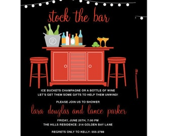 Stock the Bar Invitation, Couples Shower Wine Cocktail Invitation, Printed or Printable