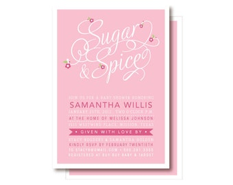Sugar and Spice Invitations, Baby Girl Shower Invitation, Printable or Printed