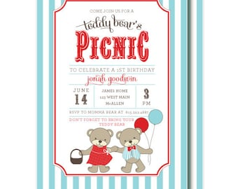 Teddy Bear Picnic Invitations, Teddy Bear's Birthday Invitation, Aqua and Red, Printable or Printed