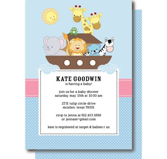 to noah 39 s ark baby shower invitation animal baby shower invitations