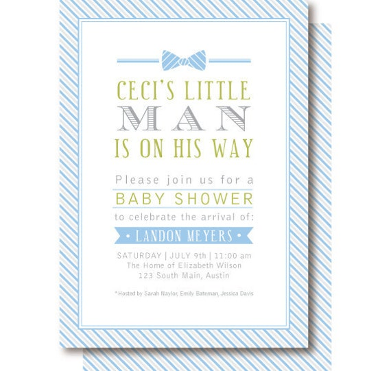 Little Man Baby Shower Invitations, Blue and Gray Bow Tie Invitation