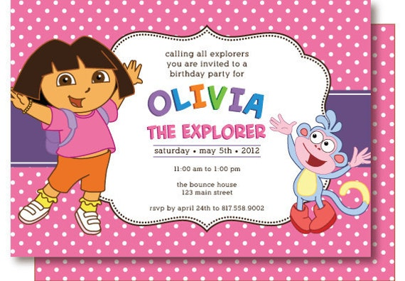 dora birthday party invitations ~ image inspiration of cake and, Birthday invitations