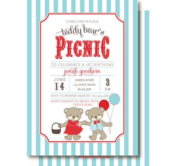Teddy Bear Picnic Invitations Teddy Bears Birthday – Teddy Bears Picnic Party Invitations