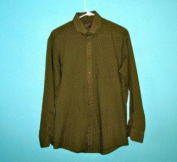 Vintage Olive Green Shirt - Abstract Deco Design - Size M - Kingsport