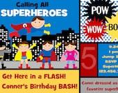 Superhero Custom You Print Digital File Birthday Invitation by Polka Dot Bumblebee