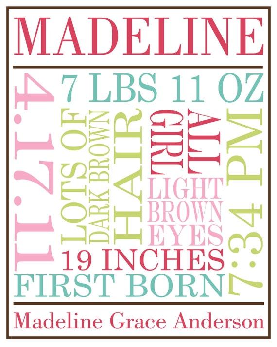 custom printable birth announcement poster