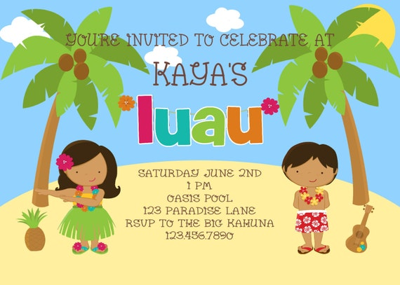 Luau Party You Print Digital File Birthday Invitation by Polka Dot Bumblebee