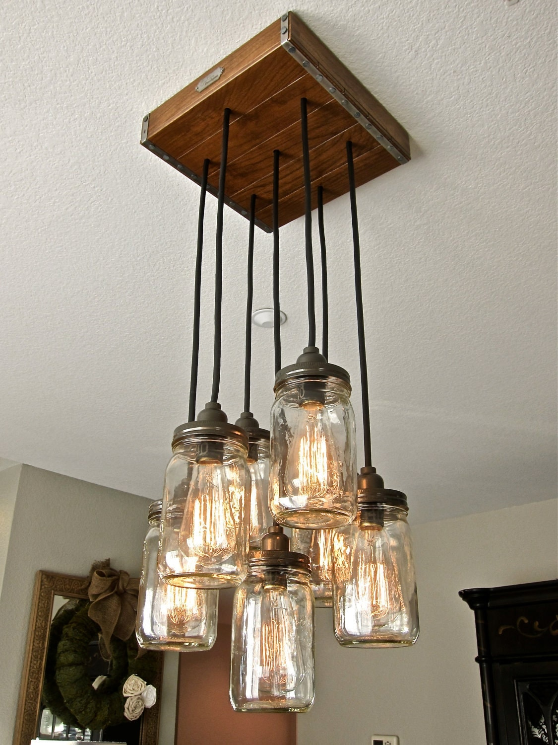 Mason jar pendant light chandelier w rustic style hardwood for Hanging lights made from mason jars