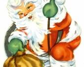 Vintage Christmas Card, Santa Claus Spiral Ornament, UNUSED
