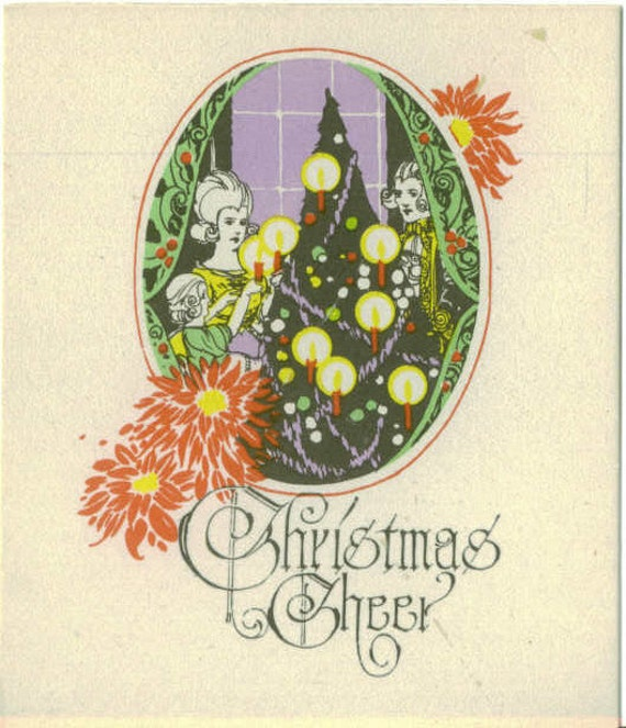 Vintage Christmas Card, UNUSED,  Christmas Cheer, Young Couple Decorating Tree, Buzza