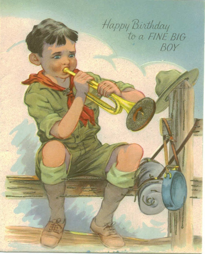 Vintage Birthday Greeting Card Boy Scout With Bugle And