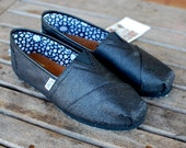 MURDERED Out Black Glitter TOMS shoes