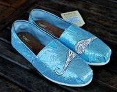 Blue Glitter Mustache TOMS shoes