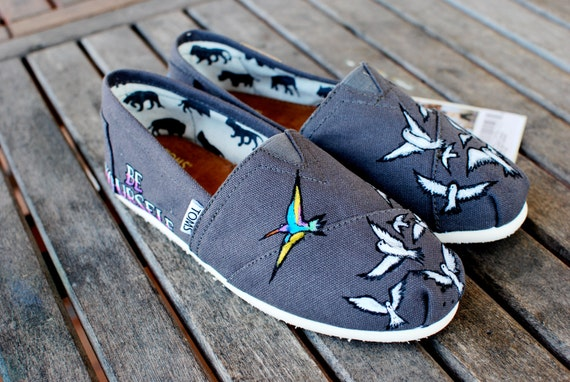 BE YOURSELF custom hand-painted TOMS shoes
