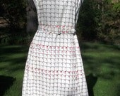 60's McMullen Mod Abstract White, Navy, and Red Dress