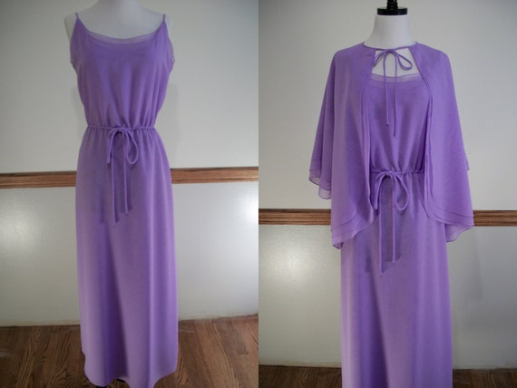 Vintage Travilla Chiffon Evening Dress Purple 2 Piece Dress and Cape Jacket