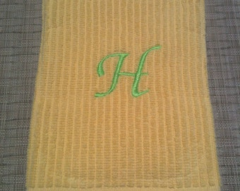 Monagrammed yellow bar towel/dish towel