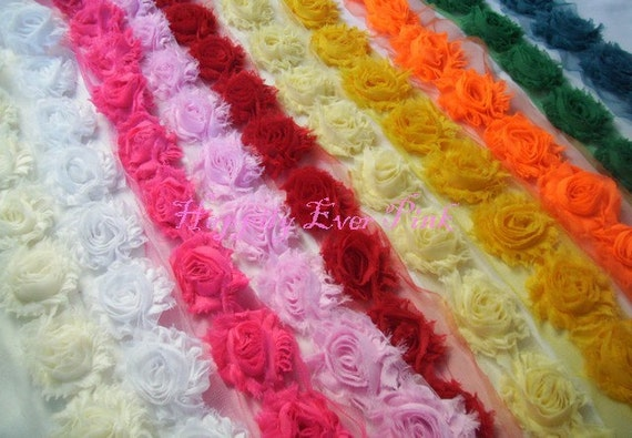 1/2 Yd. Increments, 5 Total Yards Shabby Flower Trim, You Pick 10 Colors, Fraying Rosettes, Shabby Chiffon Roses