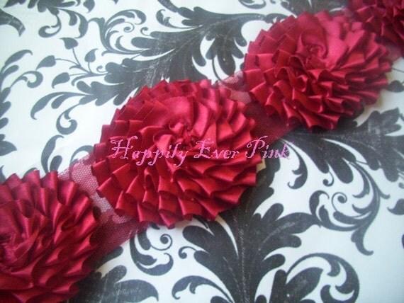 1 Yd. Red Satin Pleated Flowers, Boutique Flower, Flower Headband, wholesale, 9 Flowers