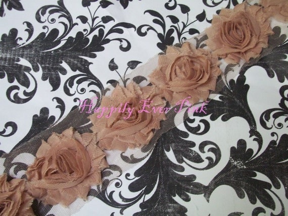 1/2 yd, Beige, NEW COLOR,Shabby Flower Trim, Chiffon Rosettes, Easter, Spring, Headband Flower