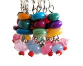 Bead stitch markers, gift for knitter, wire dangles handmade, gift for her