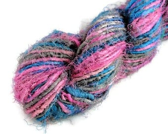 Recycled Pure Silk Yarn Blue Pink Grey