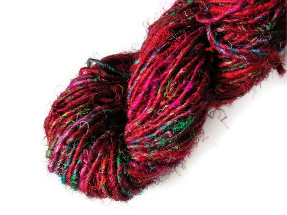 Recycled Sari Silk Yarn Multicolored LUXURY Reds, Maroons