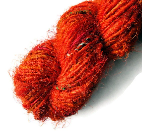 Recycled Sari Silk Yarn Tangelo - Orange Halloween