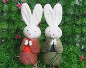 Handmade couple of bunnies in kimono suite 4.5inches doll - READY to SHIP