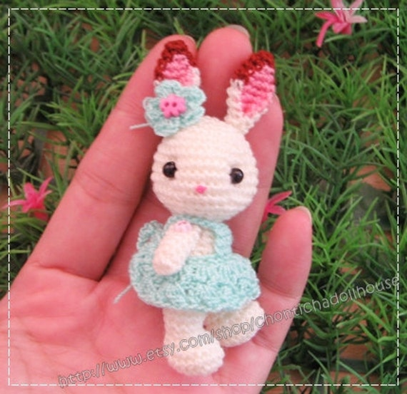 Crochet Mini Doll Pattern : Mini Rabbit 2.75 inches amigurumi crochet doll READY to