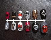 Rockstar Nail Art - Hand painted False Nails