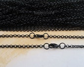 10pcs 65cm Black color round shape  Link  chain With lobster clasp  3mmx3mm