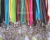 25pcs 3mm 18-20inch adjustable assorted Color (12 color)  suede leather necklace cord with white k lobster clasp