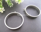 4 pcs of  Silver Metal Circle Pendant Charms 39mm