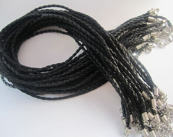 15pcs 3mm  17-19inch Adjustable black Color Faux Braided leather necklace cord