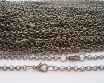 100pcs 65cm antique Bronze round shape  Link  chain 3mmx3mm