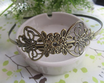 4pcs antique  bronze  Headbands / hairbands with a filigree wrap base 31mmx68mm