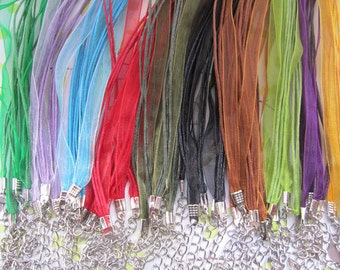 Sale 50pcs 17-19inch Adjustable assorted Color (10 color) ribbon necklace cord