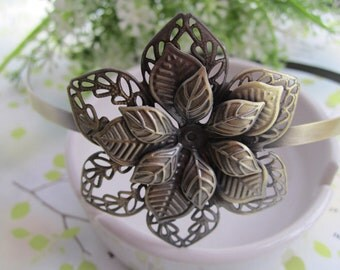 4pcs antique bronze  Headbands / hairbands with a filigree wrap base 52mm
