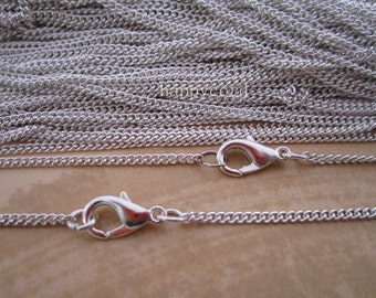 10pcs 2mm 60cm Silver color Link  chain With Lobster Clasp