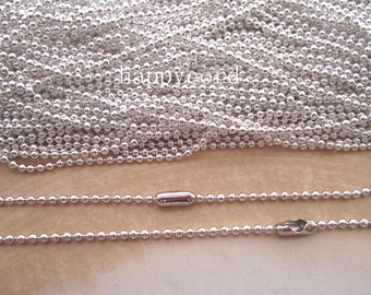 Sale 100pcs  1.50mm  20inch  Silver color ball necklace chain with matching connector