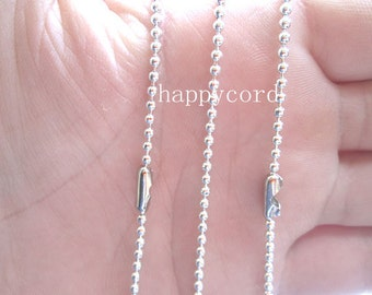 100pcs  2.4mm  27inch  Silver  color ball necklace chain with matching connector