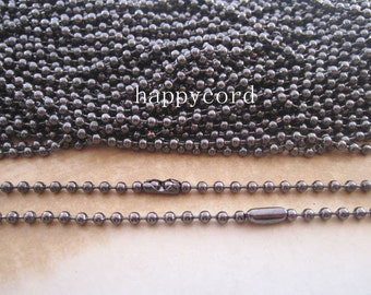 50pcs 1.50mm  20inch gunmetal color  ball necklace chain with matching connector
