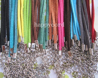 50pcs 3mm 18-20inch adjustable assorted Color (12 color) suede leather necklace cord with white k lobster clasp