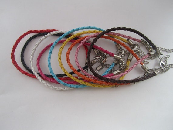 36pcs 3.0mm  7inches--9inches assorted Color(9 color)  faux braided leather with Lobster clasp bracelet