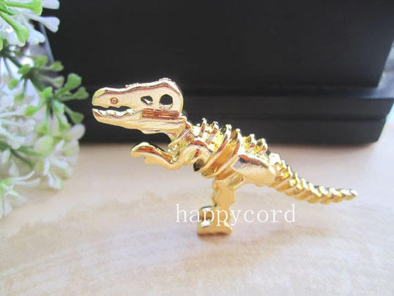 2pcs  Gold plated dinosaur Charms 21mmx56mm