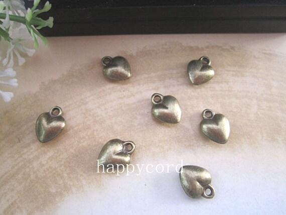 25pcs of  Bronze  Mini Love heart Charms  9mm